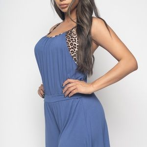 SALE! Blue Racerback Romper with Cheetah Print